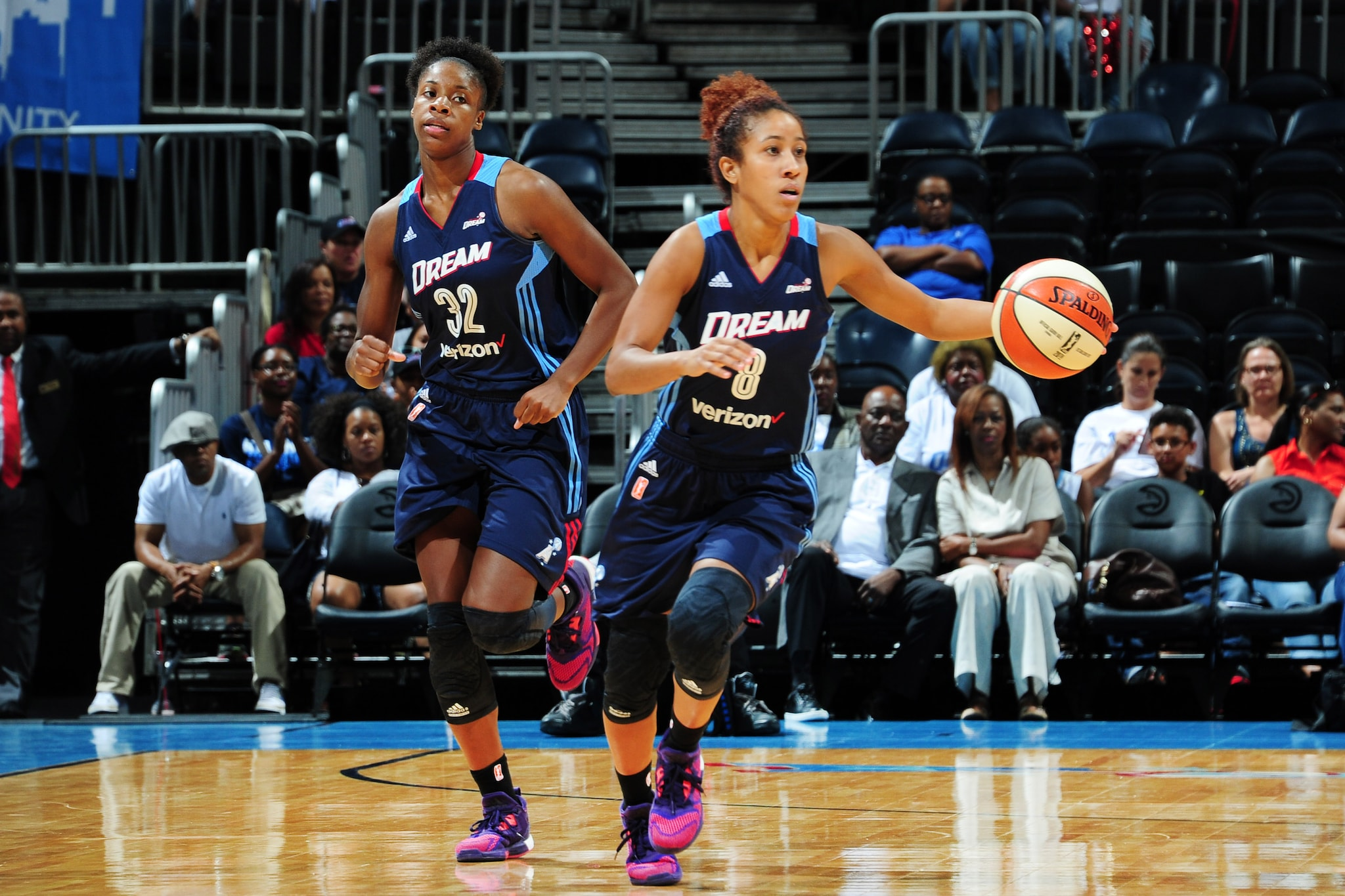 ATLANTA, GA - JUNE 12: Carla Cortijo #8 of the Atlanta Dream drives to the basket against the Connecticut Sun during the game on June 12, 2016 at Philips Arena in Atlanta, Georgia. NOTE TO USER: User expressly acknowledges and agrees that, by downloading and or using this Photograph, user is consenting to the terms and conditions of the Getty Images License Agreement. Mandatory Copyright Notice: Copyright 2016 NBAE (Photo by Scott Cunningham/NBAE via Getty Images)