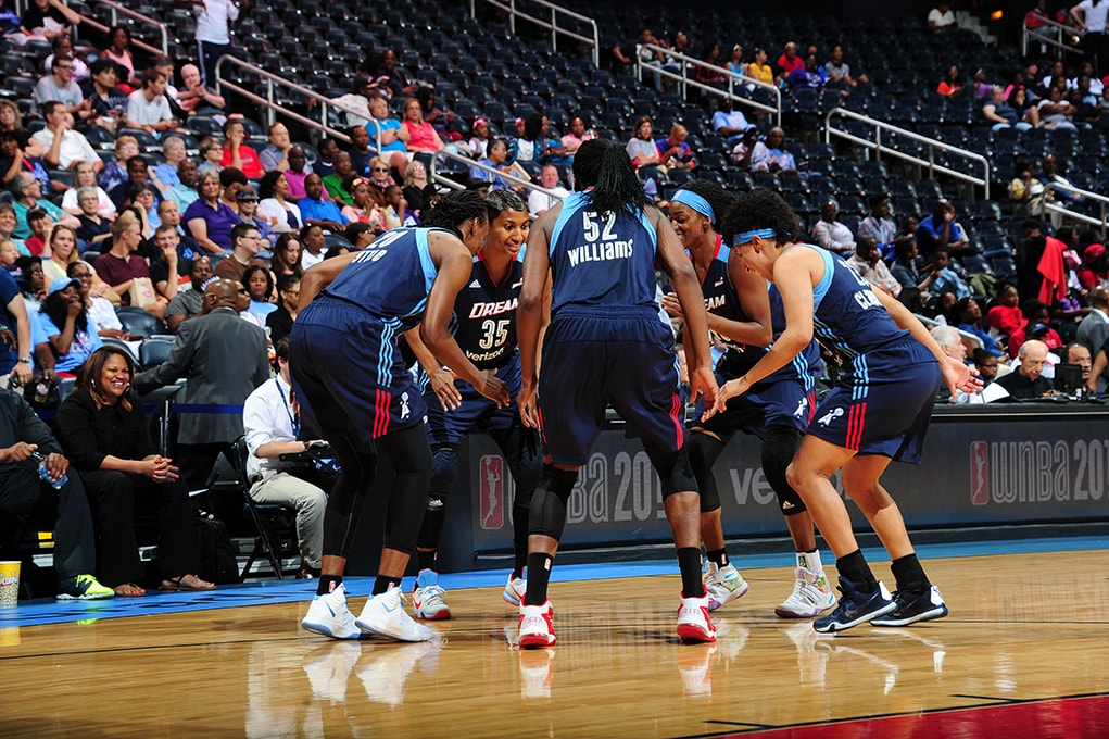 ATLANTA, GA - JUNE 5: The Atlanta Dream are seen before the game against the Washington Mystics on June 5, 2016 at Philips Arena in Atlanta, Georgia.  NOTE TO USER: User expressly acknowledges and agrees that, by downloading and/or using this Photograph, user is consenting to the terms and conditions of the Getty Images License Agreement. Mandatory Copyright Notice: Copyright 2016 NBAE (Photo by Scott Cunningham/NBAE via Getty Images)