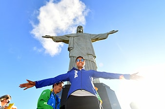RIO DE JANEIRO, BRAZIL - AUGUST 11: Angel McCoughtry #8 of the USA Basketball Women's National Team poses during a visit to Christ the Redeemer on August 11, 2016 in Rio de Janerio, Brazil. NOTE TO USER: User expressly acknowledges and agrees that, by downloading and or using this photograph, user is consenting to the terms and conditions of Getty Images License Agreement. Mandatory Copyright Notice: Copyright 2016 NBAE (Photo by Jesse D. Garrabrant/NBAE via Getty Images)