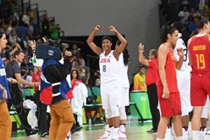 RIO DE JANEIRO, BRAZIL - AUGUST 20:  Angel McCoughtry #8 of USA Basketball Women's National Team celebrates after winning the Gold Medal Game against Spain on Day 15 of the Rio 2016 Olympic Games at Carioca Arena 1 on August 20, 2016 in Rio de Janeiro, Brazil. Mandatory Copyright Notice: Copyright 2016 NBAE (Photo by Jesse D. Garrabrant/NBAE via Getty Images)