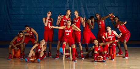 JULY 30: USA Basketball Women's National Team photos at the Madison Square Garden training facility in New York.