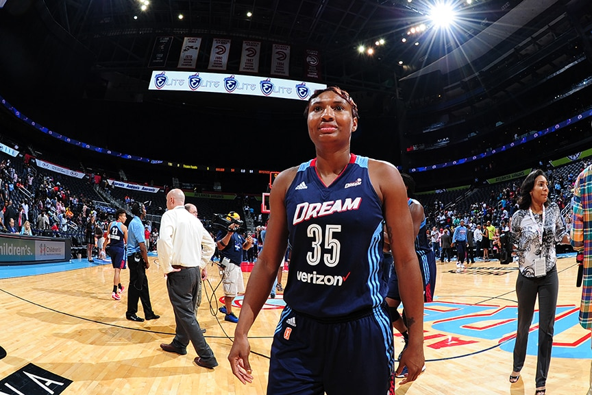 ATLANTA, GA - SEPTEMBER 15:  Angel McCoughtry #35 of the Atlanta Dream celebrates a win against the Washington Mystics on September 15, 2016 at Philips Arena in Atlanta, Georgia.  NOTE TO USER: User expressly acknowledges and agrees that, by downloading and/or using this Photograph, user is consenting to the terms and conditions of the Getty Images License Agreement. Mandatory Copyright Notice: Copyright 2016 NBAE (Photo by Scott Cunningham/NBAE via Getty Images)