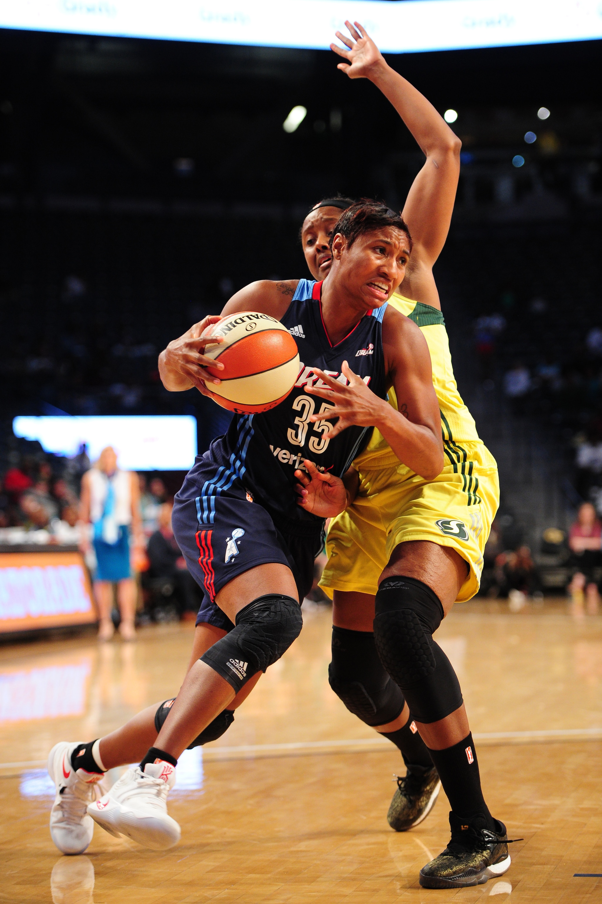 ATLANTA, GA - SEPTEMBER 21:  Angel McCoughtry #35 of the Atlanta Dream handles the ball against the Seattle Storm during Round One of the 2016 WNBA Playoffs on September 21, 2016 at the Hank McCamish Pavilion in Atlanta, Georgia.  NOTE TO USER: User expressly acknowledges and agrees that, by downloading and/or using this Photograph, user is consenting to the terms and conditions of the Getty Images License Agreement. Mandatory Copyright Notice: Copyright 2016 NBAE (Photo by Scott Cunningham/NBAE via Getty Images)