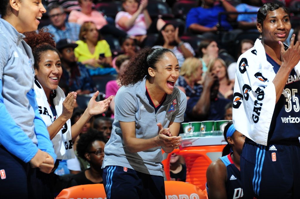 ATLANTA, GA - MAY 29: Meighan Simmons #0 of the Atlanta Dream and her teammates celebrate during the game against the Indiana Fever on May 29, 2016 at Philips Arena in Atlanta, Georgia. NOTE TO USER: User expressly acknowledges and agrees that, by downloading and/or using this Photograph, user is consenting to the terms and conditions of the Getty Images License Agreement. Mandatory Copyright Notice: Copyright 2016 NBAE (Photo by Scott Cunningham/NBAE via Getty Images)