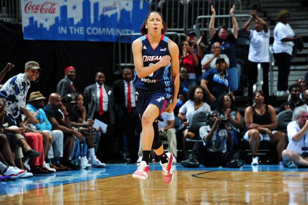 ATLANTA, GA - JUNE 12: Meighan Simmons #0 of the Atlanta Dreamreacts after a play against the Connecticut Sun during the game on June 12, 2016 at Philips Arena in Atlanta, Georgia. NOTE TO USER: User expressly acknowledges and agrees that, by downloading and or using this Photograph, user is consenting to the terms and conditions of the Getty Images License Agreement. Mandatory Copyright Notice: Copyright 2016 NBAE (Photo by Scott Cunningham/NBAE via Getty Images)