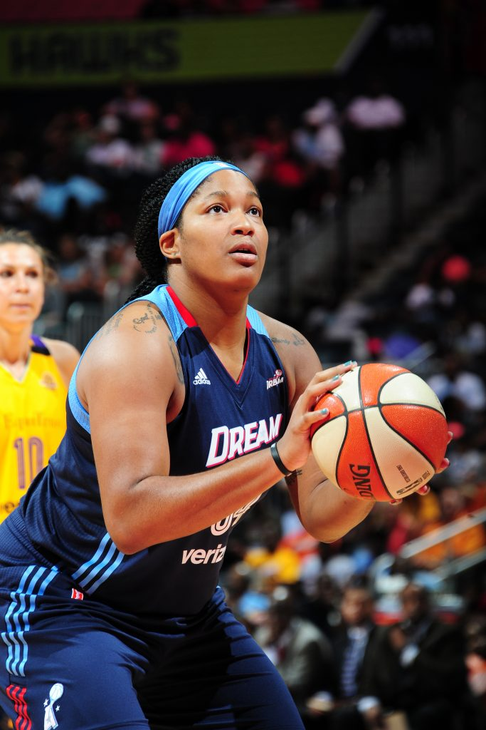 ATLANTA, GA - JULY 17: Markeisha Gatling #34 of the Atlanta Dream shoots a free throw against the Los Angeles Sparks on July 17, 2016 at Philips Arena in Atlanta, Georgia. NOTE TO USER: User expressly acknowledges and agrees that, by downloading and/or using this Photograph, user is consenting to the terms and conditions of the Getty Images License Agreement. Mandatory Copyright Notice: Copyright 2016 NBAE (Photo by Scott Cunningham/NBAE via Getty Images)