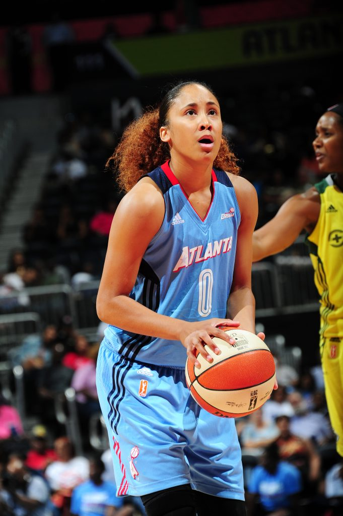 ATLANTA, GA - SEPTEMBER 4: Meighan Simmons #0 of the Atlanta Dream shoots a free throw against the Seattle Storm on September 4, 2016 at Philips Arena in Atlanta, Georgia. NOTE TO USER: User expressly acknowledges and agrees that, by downloading and/or using this Photograph, user is consenting to the terms and conditions of the Getty Images License Agreement. Mandatory Copyright Notice: Copyright 2016 NBAE (Photo by Scott Cunningham/NBAE via Getty Images)