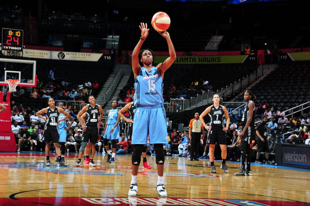 ATLANTA, GA - SEPTEMBER 13: Tiffany Hayes #15 of the Atlanta Dream shoots a free throw against the San Antonio Stars on September 13, 2016 at Philips Arena in Atlanta, Georgia. NOTE TO USER: User expressly acknowledges and agrees that, by downloading and/or using this Photograph, user is consenting to the terms and conditions of the Getty Images License Agreement. Mandatory Copyright Notice: Copyright 2016 NBAE (Photo by Scott Cunningham/NBAE via Getty Images)