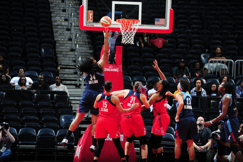 ATLANTA, GA - SEPTEMBER 15: Markeisha Gatling #34 of the Atlanta Dream shoots the ball against the Washington Mystics on September 15, 2016 at Philips Arena in Atlanta, Georgia. NOTE TO USER: User expressly acknowledges and agrees that, by downloading and/or using this Photograph, user is consenting to the terms and conditions of the Getty Images License Agreement. Mandatory Copyright Notice: Copyright 2016 NBAE (Photo by Scott Cunningham/NBAE via Getty Images)