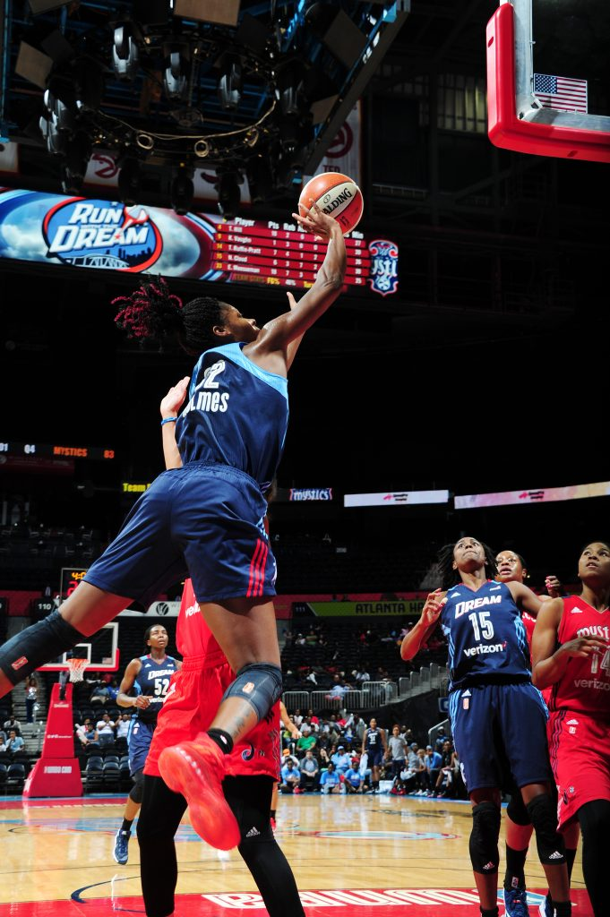 ATLANTA, GA - SEPTEMBER 15: Bria Holmes #32 of the Atlanta Dream shoots the ball against the Washington Mystics on September 15, 2016 at Philips Arena in Atlanta, Georgia. NOTE TO USER: User expressly acknowledges and agrees that, by downloading and/or using this Photograph, user is consenting to the terms and conditions of the Getty Images License Agreement. Mandatory Copyright Notice: Copyright 2016 NBAE (Photo by Scott Cunningham/NBAE via Getty Images)