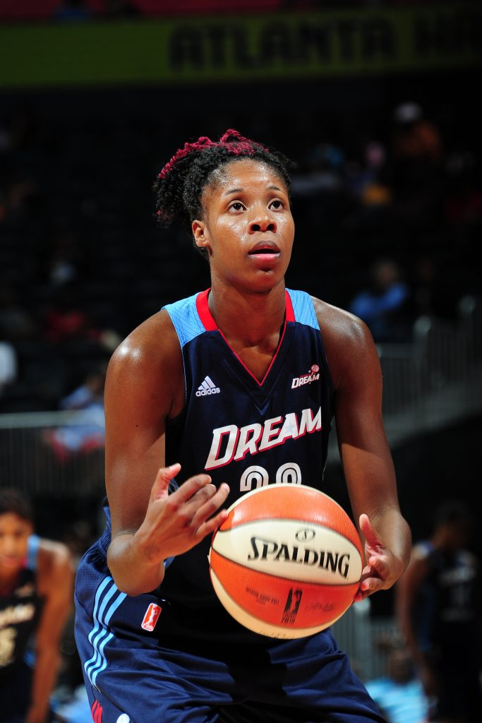ATLANTA, GA - SEPTEMBER 15: Bria Holmes #32 of the Atlanta Dream prepares to shoot a free throw against the Washington Mystics on September 15, 2016 at Philips Arena in Atlanta, Georgia. NOTE TO USER: User expressly acknowledges and agrees that, by downloading and/or using this Photograph, user is consenting to the terms and conditions of the Getty Images License Agreement. Mandatory Copyright Notice: Copyright 2016 NBAE (Photo by Scott Cunningham/NBAE via Getty Images)