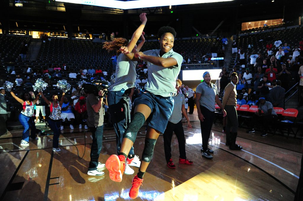 ATLANTA, GA - SEPTEMBER 21: Bria Holmes #32 of the Atlanta Dream is introduced before the game against the Seattle Storm during Round One of the 2016 WNBA Playoffs on September 21, 2016 at the Hank McCamish Pavilion in Atlanta, Georgia. NOTE TO USER: User expressly acknowledges and agrees that, by downloading and/or using this Photograph, user is consenting to the terms and conditions of the Getty Images License Agreement. Mandatory Copyright Notice: Copyright 2016 NBAE (Photo by Scott Cunningham/NBAE via Getty Images)