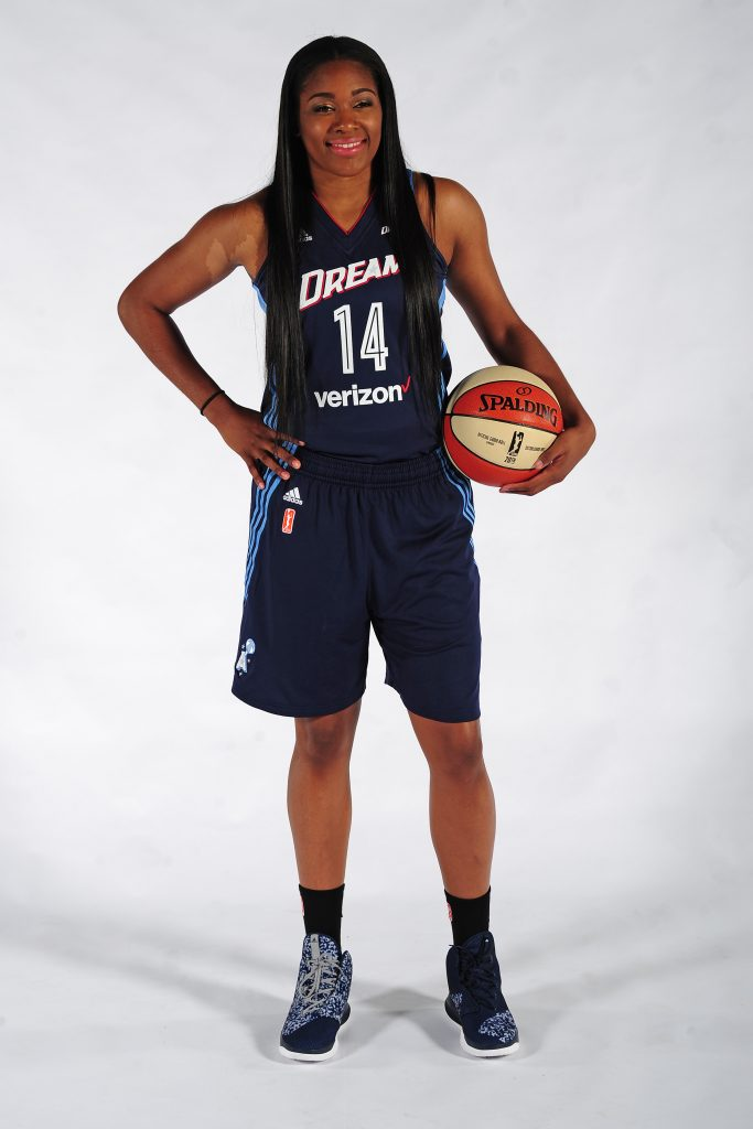 AUSTELL, GA - MAY 2: Rachel Hollivay #14 of the Atlanta Dream poses for a portrait during WNBA Media Day on May 2, 2016 at the Riverside EpiCenter in Austell, Georgia. NOTE TO USER: User expressly acknowledges and agrees that, by downloading and/or using this Photograph, user is consenting to the terms and conditions of the Getty Images License Agreement. Mandatory Copyright Notice: Copyright 2016 NBAE (Photo by Scott Cunningham/NBAE via Getty Images)