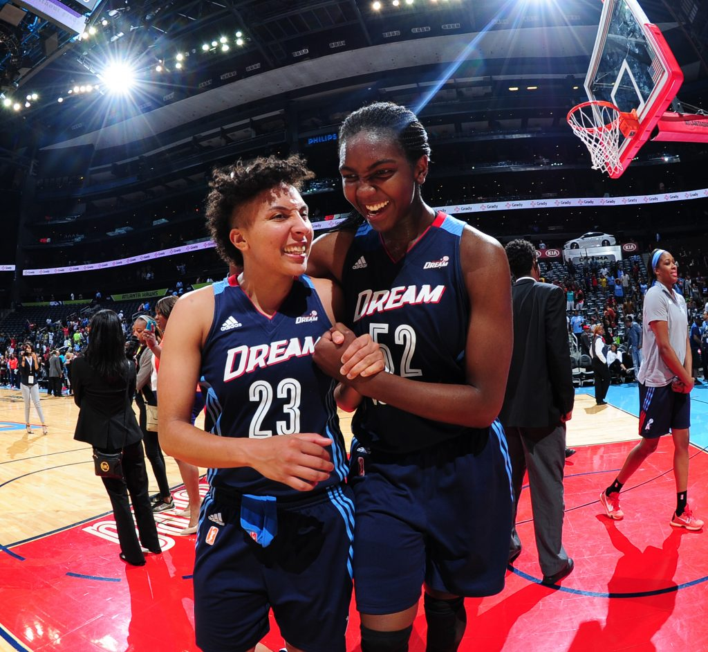 ATLANTA, GA - MAY 29: Layshia Clarendon #23 of the Atlanta Dream and Elizabeth Williams #52 of the Atlanta Dream celebrate after the game against the Indiana Fever on May 29, 2016 at Philips Arena in Atlanta, Georgia. NOTE TO USER: User expressly acknowledges and agrees that, by downloading and/or using this Photograph, user is consenting to the terms and conditions of the Getty Images License Agreement. Mandatory Copyright Notice: Copyright 2016 NBAE (Photo by Scott Cunningham/NBAE via Getty Images)