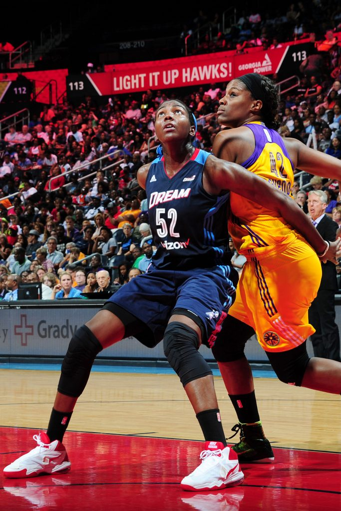 ATLANTA, GA - JULY 17: Elizabeth Williams #52 of the Atlanta Dream fights for position against Jantel Lavender #42 of the Los Angeles Sparks on July 17, 2016 at Philips Arena in Atlanta, Georgia. NOTE TO USER: User expressly acknowledges and agrees that, by downloading and/or using this Photograph, user is consenting to the terms and conditions of the Getty Images License Agreement. Mandatory Copyright Notice: Copyright 2016 NBAE (Photo by Scott Cunningham/NBAE via Getty Images)