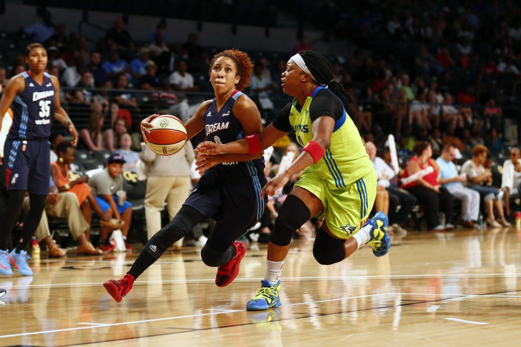 ATLANTA, GA - JULY 22: Carla Cortijo #8 of the Atlanta Dream drives to the basket against the Dallas Wings on July 22, 2016 at McCamish Pavilion in Atlanta, Georgia. NOTE TO USER: User expressly acknowledges and agrees that, by downloading and or using this Photograph, user is consenting to the terms and conditions of the Getty Images License Agreement. Mandatory Copyright Notice: Copyright 2016 NBAE (Photo by Kevin Liles/NBAE via Getty Images)