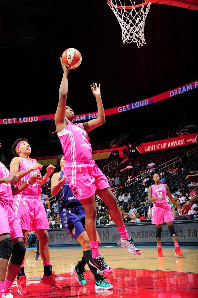 ATLANTA, GA - SEPTEMBER 6: Rachel Hollivay #14 of the Atlanta Dream shoots the ball against the Phoenix Mercury on September 6, 2016 at Philips Arena in Atlanta, Georgia. NOTE TO USER: User expressly acknowledges and agrees that, by downloading and/or using this Photograph, user is consenting to the terms and conditions of the Getty Images License Agreement. Mandatory Copyright Notice: Copyright 2016 NBAE (Photo by Scott Cunningham/NBAE via Getty Images)