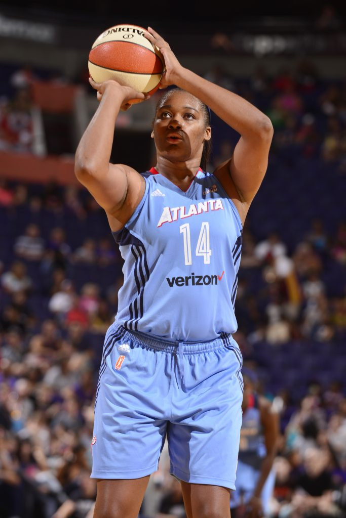 PHOENIX, AZ - SEPTEMBER 11: Rachel Hollivay #14 of the Atlanta Dream shoots a free throw against the Phoenix Mercury on September 11, 2016 at Talking Stick Resort Arena in Phoenix, Arizona. NOTE TO USER: User expressly acknowledges and agrees that, by downloading and or using this Photograph, user is consenting to the terms and conditions of the Getty Images License Agreement. Mandatory Copyright Notice: Copyright 2016 NBAE (Photo by Barry Gossage/NBAE via Getty Images)
