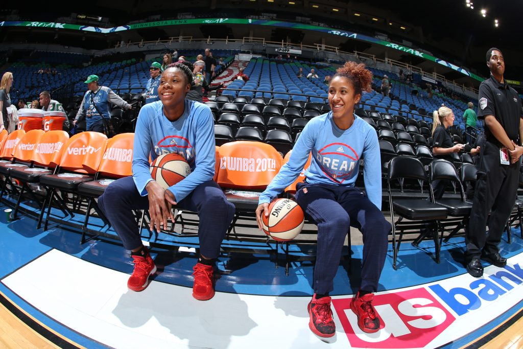 MINNEAPOLIS, MN - SEPTEMBER 17: Bria Holmes #32 of the Atlanta Dream and Carla Cortijo #8 of the Atlanta Dream are seen during practice before the game against the Minnesota Lynx on September 17, 2016 at Target Center in Minneapolis, Minnesota. NOTE TO USER: User expressly acknowledges and agrees that, by downloading and or using this Photograph, user is consenting to the terms and conditions of the Getty Images License Agreement. Mandatory Copyright Notice: Copyright 2016 NBAE (Photo by David Sherman/NBAE via Getty Images)