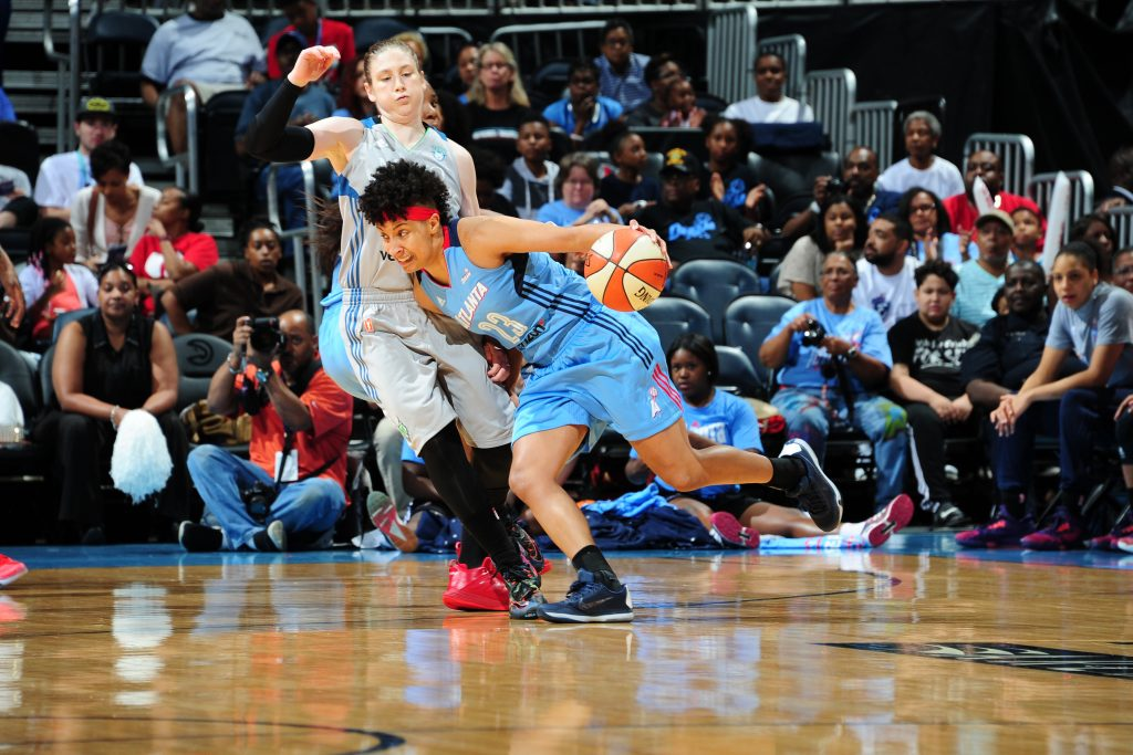 ATLANTA, GA - JUNE 10: Layshia Clarendon #23 of the Atlanta Dream drives to the basket against the Minnesota Lynx on June 10, 2016 at Philips Arena in Atlanta, Georgia. NOTE TO USER: User expressly acknowledges and agrees that, by downloading and/or using this Photograph, user is consenting to the terms and conditions of the Getty Images License Agreement. Mandatory Copyright Notice: Copyright 2016 NBAE (Photo by Scott Cunningham/NBAE via Getty Images)