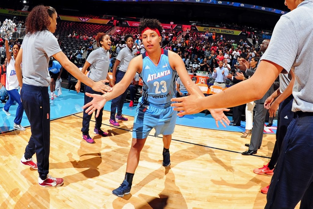 ATLANTA, GA - JUNE 10: Layshia Clarendon #23 of the Atlanta Dream gets introduced before the game against the Minnesota Lynx during a WNBA game on June 10, 2016 at Philips Arena in Atlanta, Georgia. NOTE TO USER: User expressly acknowledges and agrees that, by downloading and/or using this Photograph, user is consenting to the terms and conditions of the Getty Images License Agreement. Mandatory Copyright Notice: Copyright 2016 NBAE (Photo by Scott Cunningham/NBAE via Getty Images)