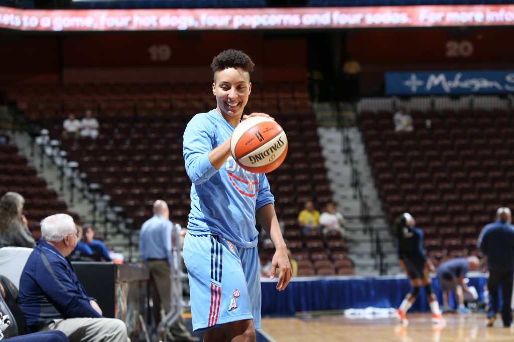 UNCASVILLE, CT - JULY 10: Layshia Clarendon #23 of the Atlanta Dream warms up before the game against the Connecticut Sun on July 10, 2016 at Mohegan Sun Arena in Uncasville, CT. NOTE TO USER: User expressly acknowledges and agrees that, by downloading and or using this Photograph, user is consenting to the terms and conditions of the Getty Images License Agreement. Mandatory Copyright Notice: Copyright 2016 NBAE (Photo by Chris Marion/NBAE via Getty Images)