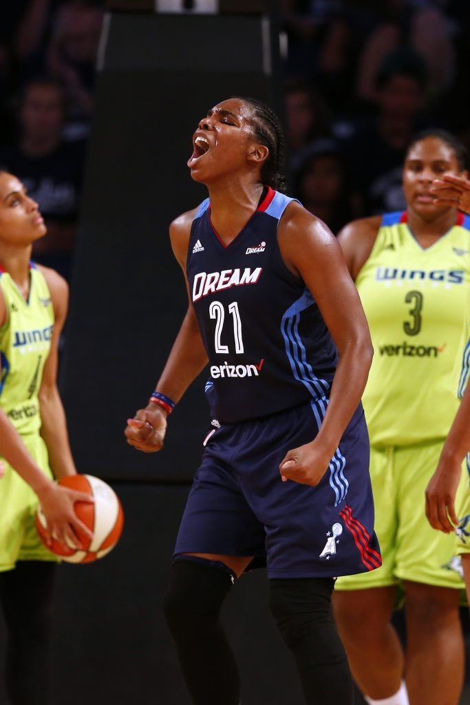 ATLANTA, GA - JULY 22: Reshanda Gray #21 of the Atlanta Dream reacts against the Dallas Wings on July 22, 2016 at McCamish Pavilion in Atlanta, Georgia. NOTE TO USER: User expressly acknowledges and agrees that, by downloading and or using this Photograph, user is consenting to the terms and conditions of the Getty Images License Agreement. Mandatory Copyright Notice: Copyright 2016 NBAE (Photo by Kevin Liles/NBAE via Getty Images)