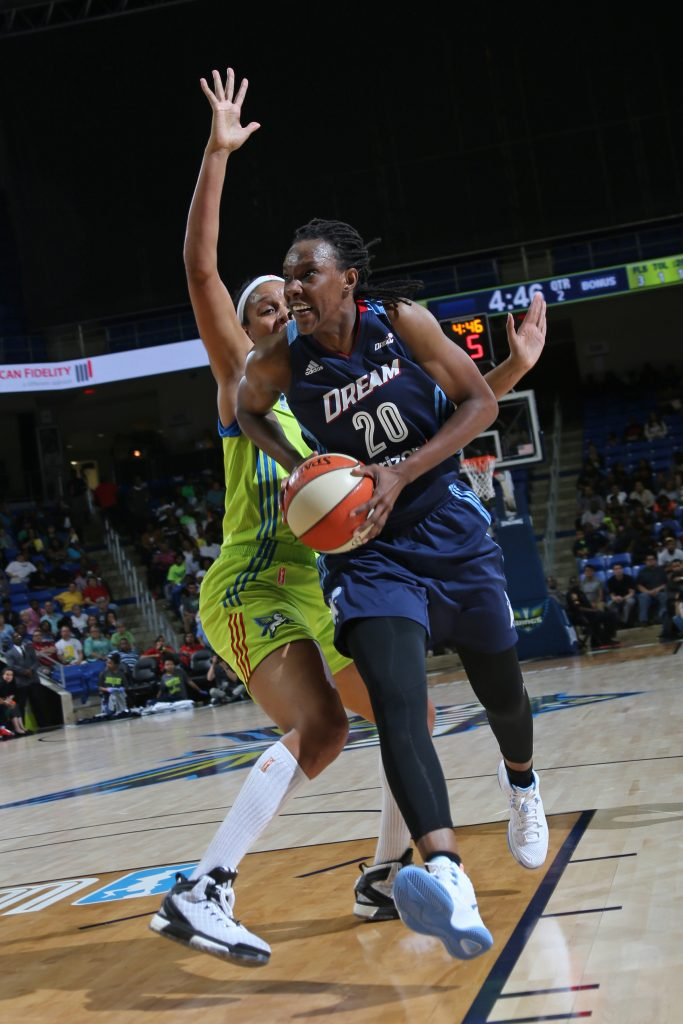 ARLINGTON, TX - MAY 27: Sancho Lyttle #20 of the Atlanta Dream drives to the basket during the game against the Dallas Wings in a WNBA game on May 27, 2016 at College Park Center in Arlington, Texas. NOTE TO USER: User expressly acknowledges and agrees that, by downloading and or using this Photograph, user is consenting to the terms and conditions of the Getty Images License Agreement. Mandatory Copyright Notice: Copyright 2016 NBAE (Photo by Layne Murdoch/NBAE via Getty Images)