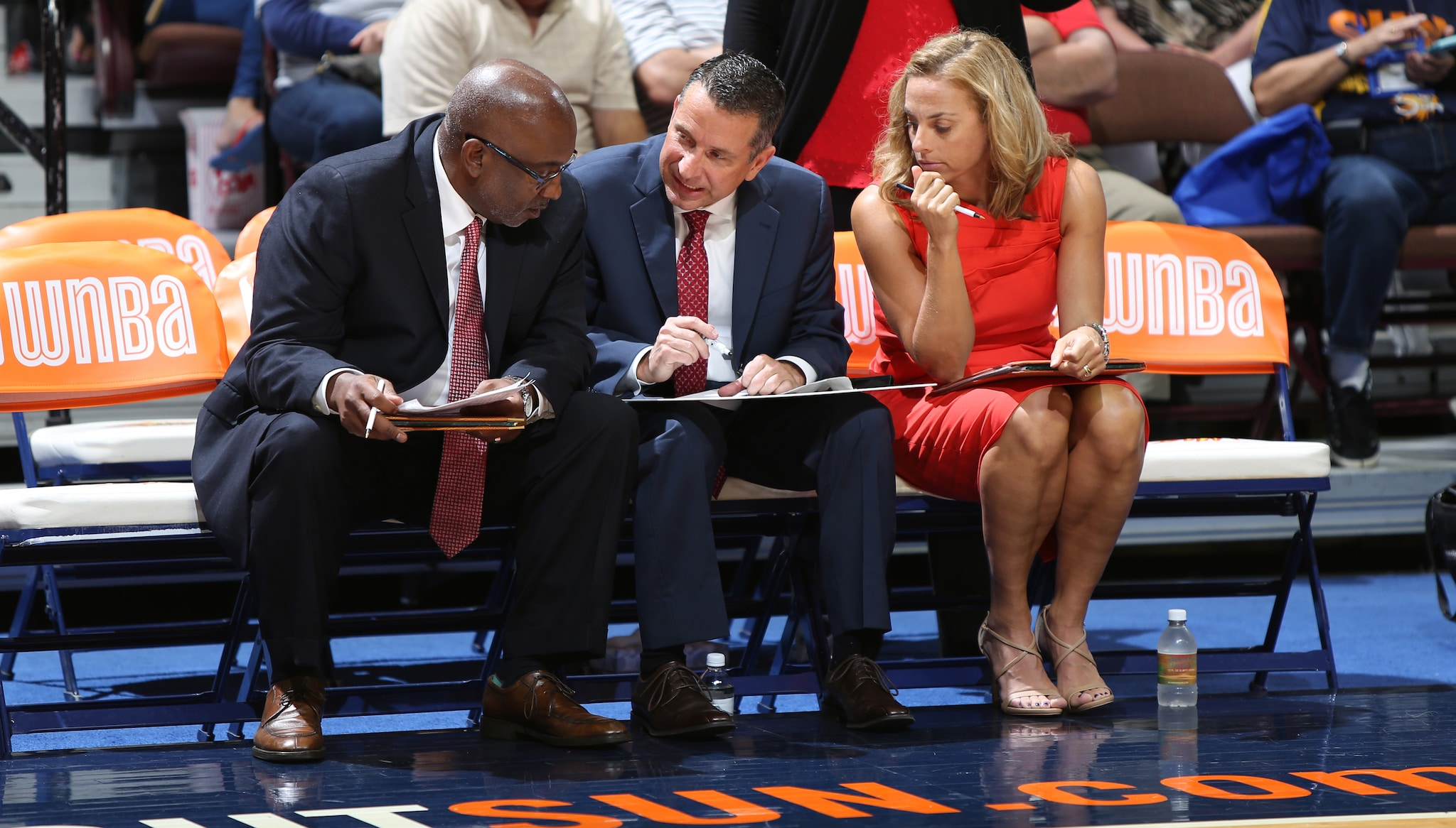 UNCASVILLE, CT - AUGUST 30:  (L-R) Steve Smith, Curt Miller and Nicki Collen, the coaching staff of the Connecticut Sun on the bench during the game against the San Antonio Stars on August 30, 2016 at the Mohegan Sun Arena in Uncasville, Connecticut. NOTE TO USER: User expressly acknowledges and agrees that, by downloading and/or using this Photograph, user is consenting to the terms and conditions of the Getty Images License Agreement. Mandatory Copyright Notice: Copyright 2016 NBAE (Photo by Chris Marion/NBAE via Getty Images)