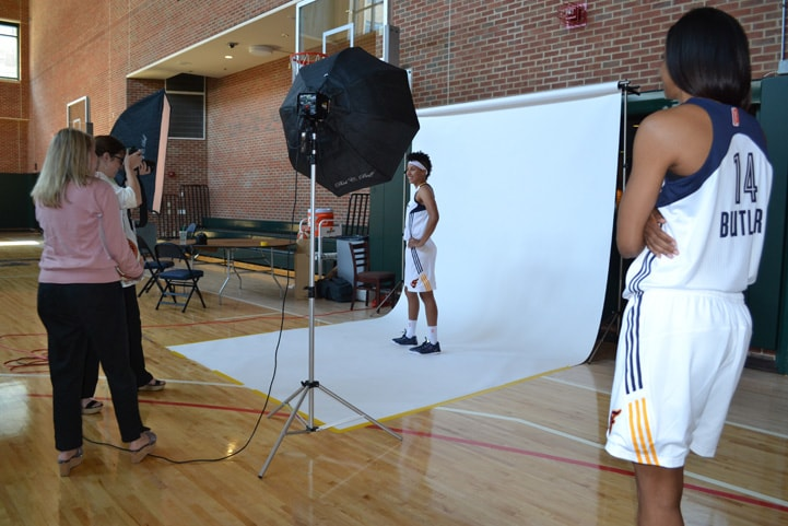 Layshia Clarendon poses for a photo at Indiana Fever Media Day.