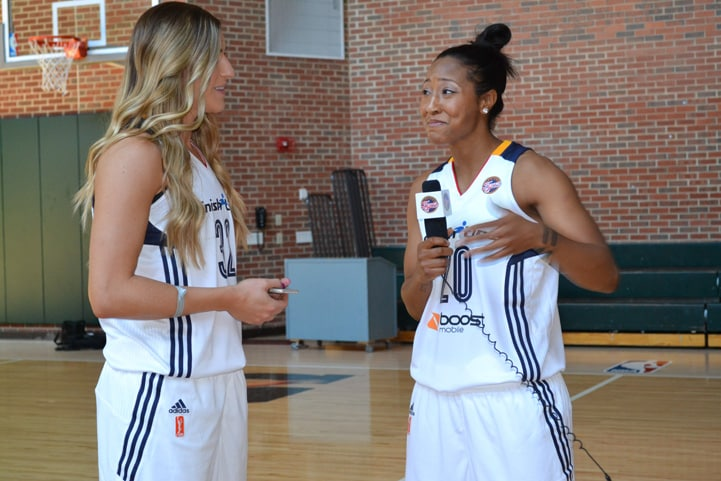 Briann January and Jeanette Pohlen have some fun during Indiana Fever Media Day.