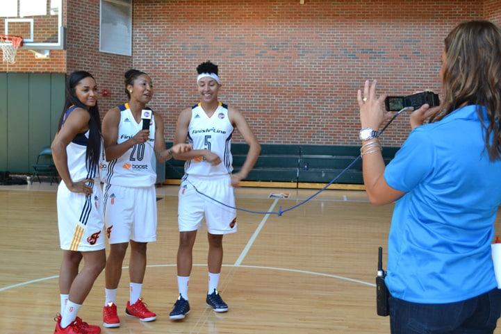 Sydney Carter (left), Briann January (#20) and Layshia Clarendon (#5) have some fun during Indiana Fever Media Day.