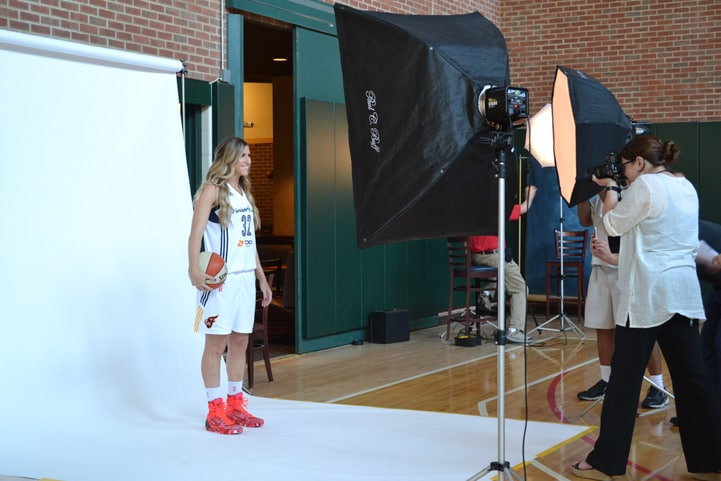 Jeanette Pohlen poses for a photo at Indiana Fever Media Day.