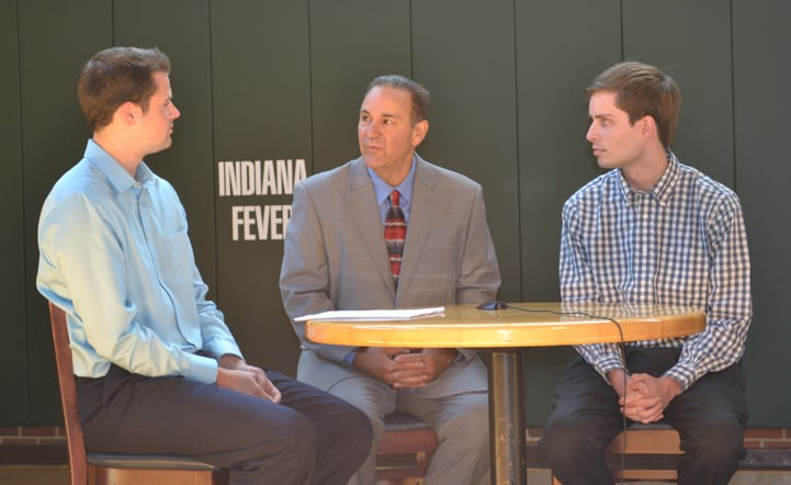 Assistant Coach Gary Kloppenburg talks with feverbasketball.com during Indiana Fever Media Day.