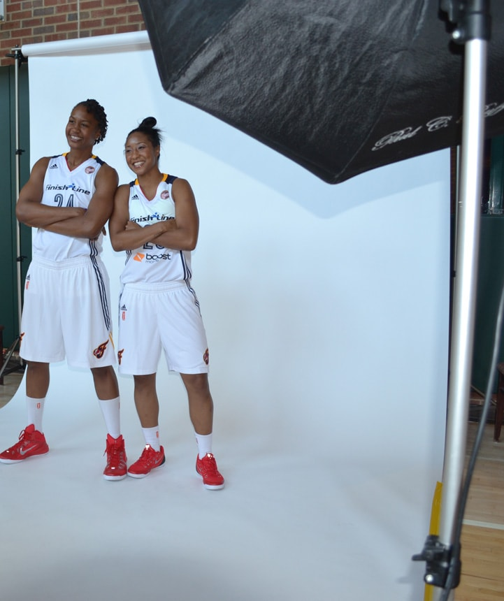 Tamika Catchings (left) and Briann January pose for a photo during Indiana Fever Media Day.