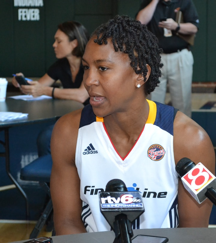 Tamika Catchings talks to the media during Indiana Fever Media Day.