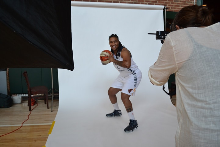 Erlana Larkins poses for a photo during Indiana Fever Media Day.