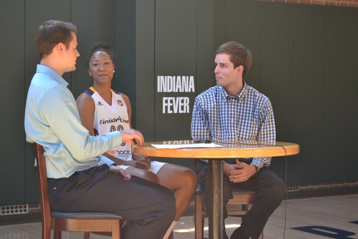 Briann January talks with feverbasketball.com during Indiana Fever Media Day.