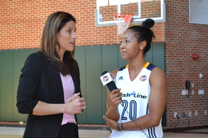 Briann January interviews her head coach Stephanie White during Indiana Fever Media Day.
