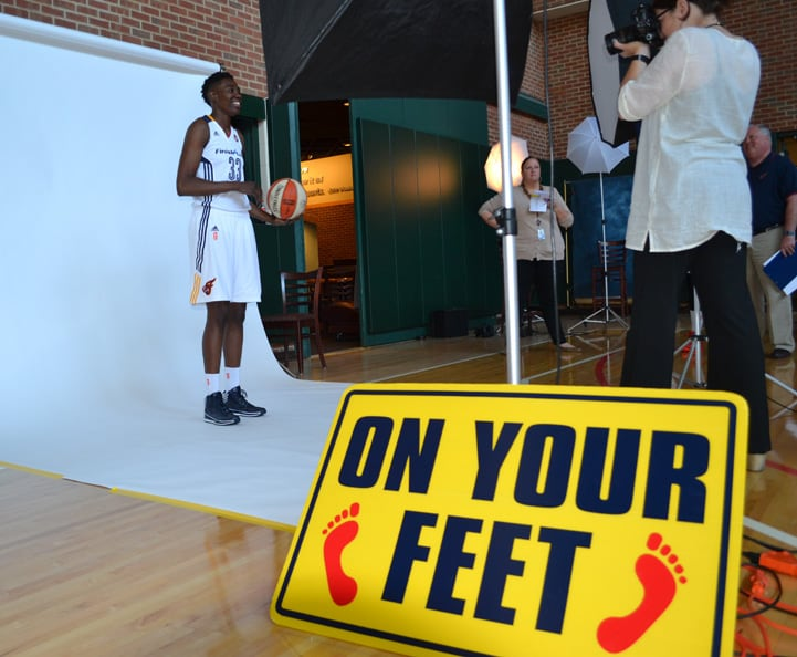 Natasha Howard poses for a photo during Indiana Fever Media Day.