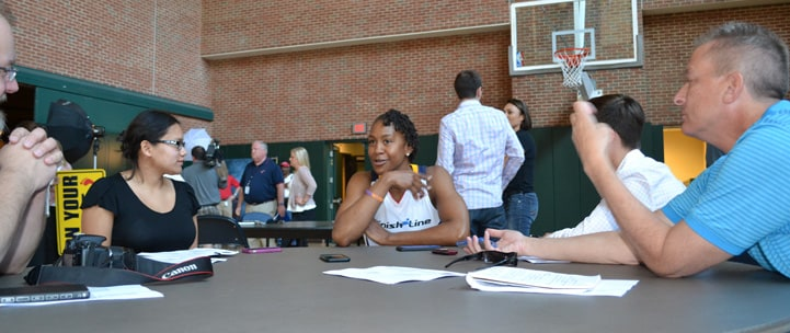 Tamika Catchings talks with the media at Indiana Fever Media Day.