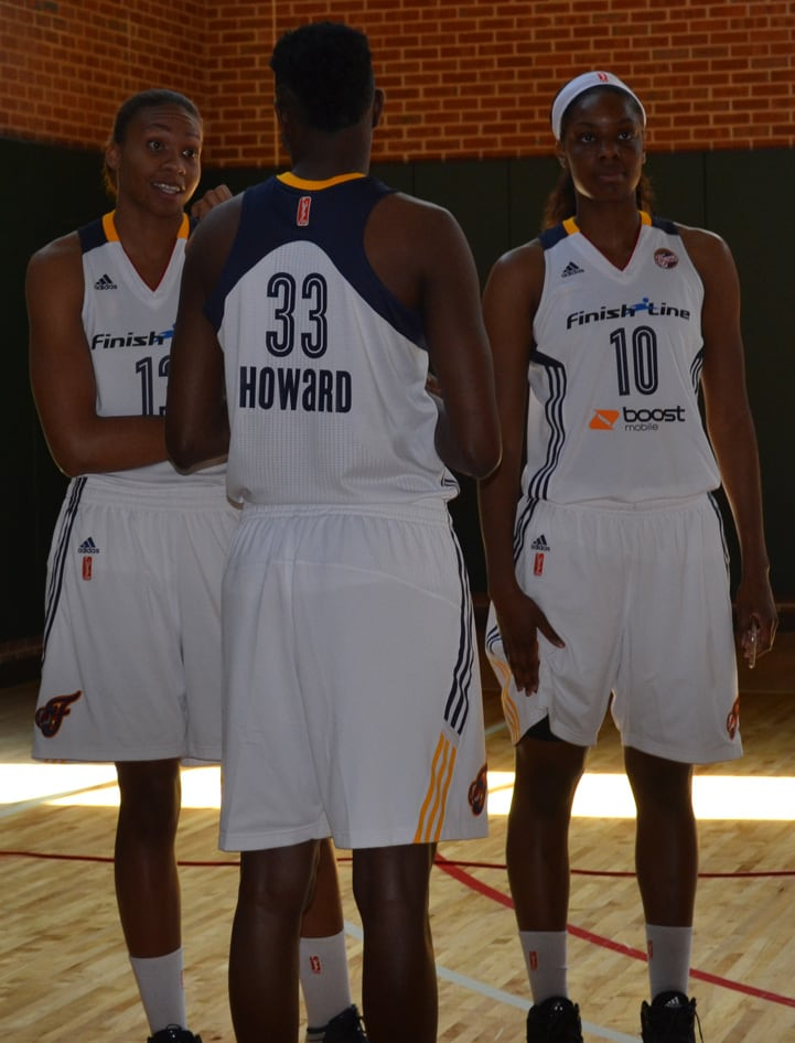 Alicia DeVaughn (left), Natasha Howard (#33) and Chelsea Gardner converse at Indiana Fever Media Day.