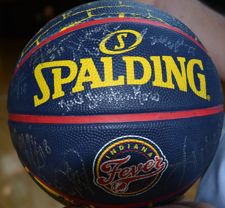 An Indiana Fever basketball signed by the entire team and coaching staff.