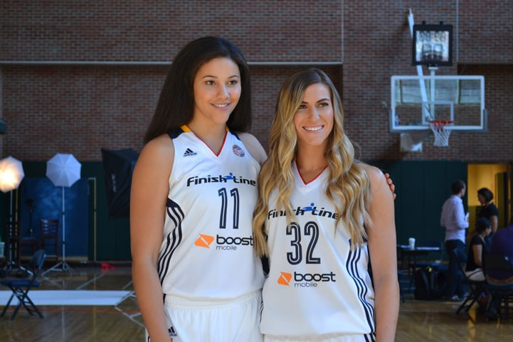 Natalie Achonwa (#11) and Jeanette Pohlen pose for a photo at Indiana Fever Media Day.