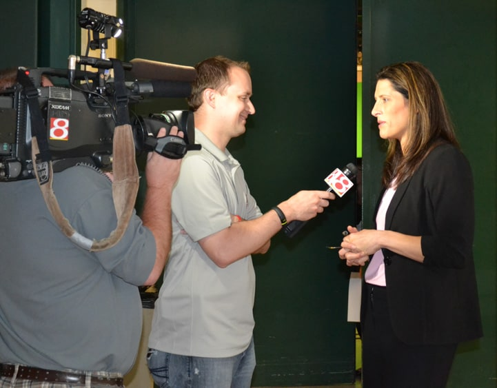 Head Coach Stephanie White talks with the media at Indiana Fever Media Day.