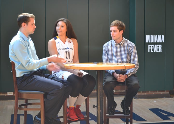 Natalie Achonwa talks with feverbasketball.com during Indiana Fever Media Day.