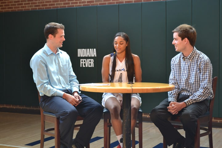 Sydney Carter talks with feverbasketball.com during Indiana Fever Media Day.