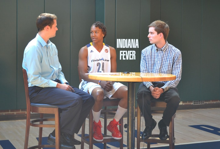 Tamika Catchings talks with feverbasketball.com during Indiana Fever Media Day.