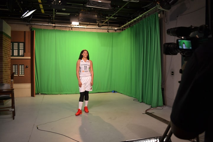 Natalie Achonwa poses for a photo during Indiana Fever Media Day.