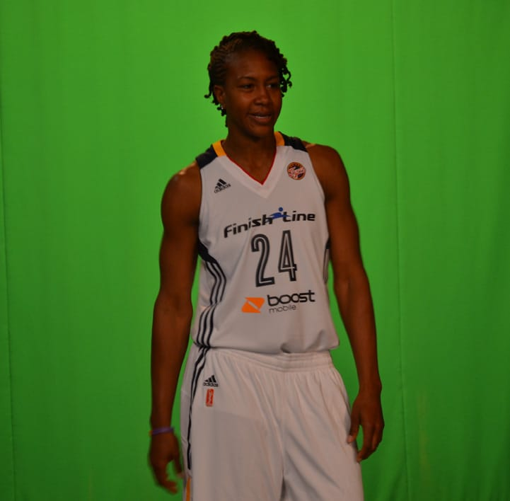 Tamika Catchings poses for a photo during Indiana Fever Media Day.